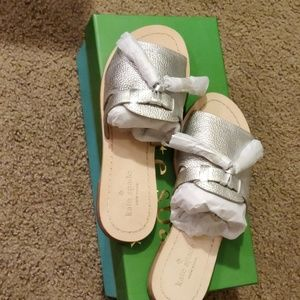 Kate Spade metallic silver Coby sandals size 6